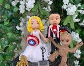 Groot and Super Hero Wedding Cake Topper Figurine