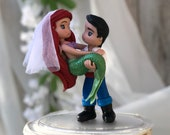 Little Mermaid and Prince Eric Hand Crafted Wedding Cake Topper