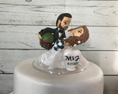Ravenclaw BRIDE and GROOM with Boba Feat Helmet. Harry Potter & Star Wars Cake Topper