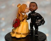 Black Panther and Belle Wedding Cake Topper Figurine