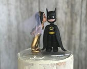 Aladin Jasmine and Batman Hand Crafted Wedding Cake Topper