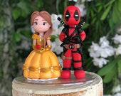 Belle and Dead Pool Hand Crafted Wedding Cake Topper