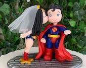 Superman and Wonder Woman Wedding Cake Topper Figurine