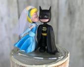 Cinderella Kissing Batman Wedding Cake Topper
