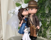 Indiana Jones and Bride Hand Crafted Wedding Cake Topper