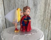 Super Man and Wonder Woman Hand Crafted Wedding Cake Topper