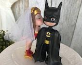 Wonder Woman Kissing Batman Wedding Cake Topper [REF 02]