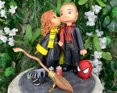 Spider Man and Hufflepuff Wedding Cake Topper Figurine