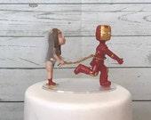 Wonder Woman Lassoing Running Iron Man