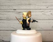 Hufflepuff Bride and Han Solo Groom Wedding Cake Topper