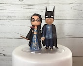 Gryffindor BRIDE with Hand Painted Gown and Batman GROOM with Hand Painted Clothes. Harry Potter & Batman Cake Topper