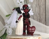 Harley Quinn and Deadpool Hand Crafted Wedding Cake Topper