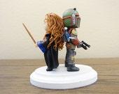 Ravenclaw girl and Boba Fett Wedding Cake Topper. Harry Potter & Star Wars Cake Topper