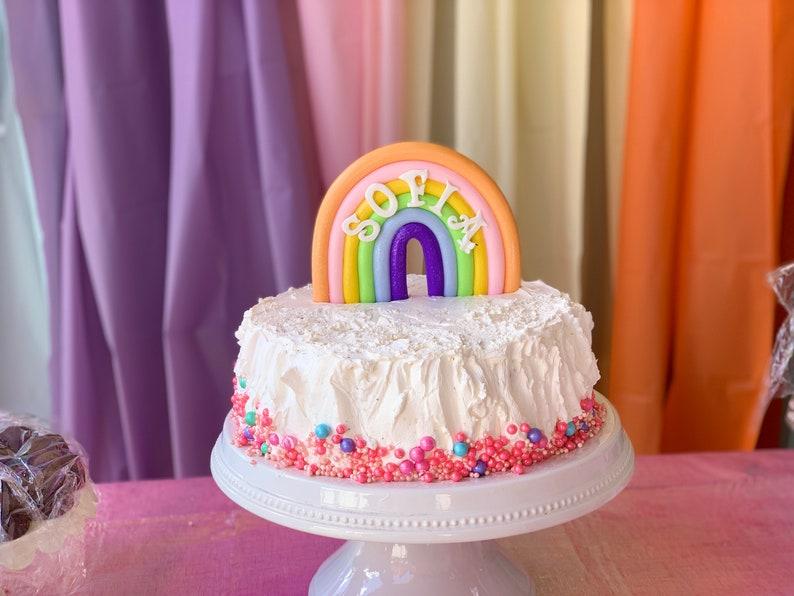 Rainbow Birthday Cake Topper Birthday Sign Unicorn Birthday image 1