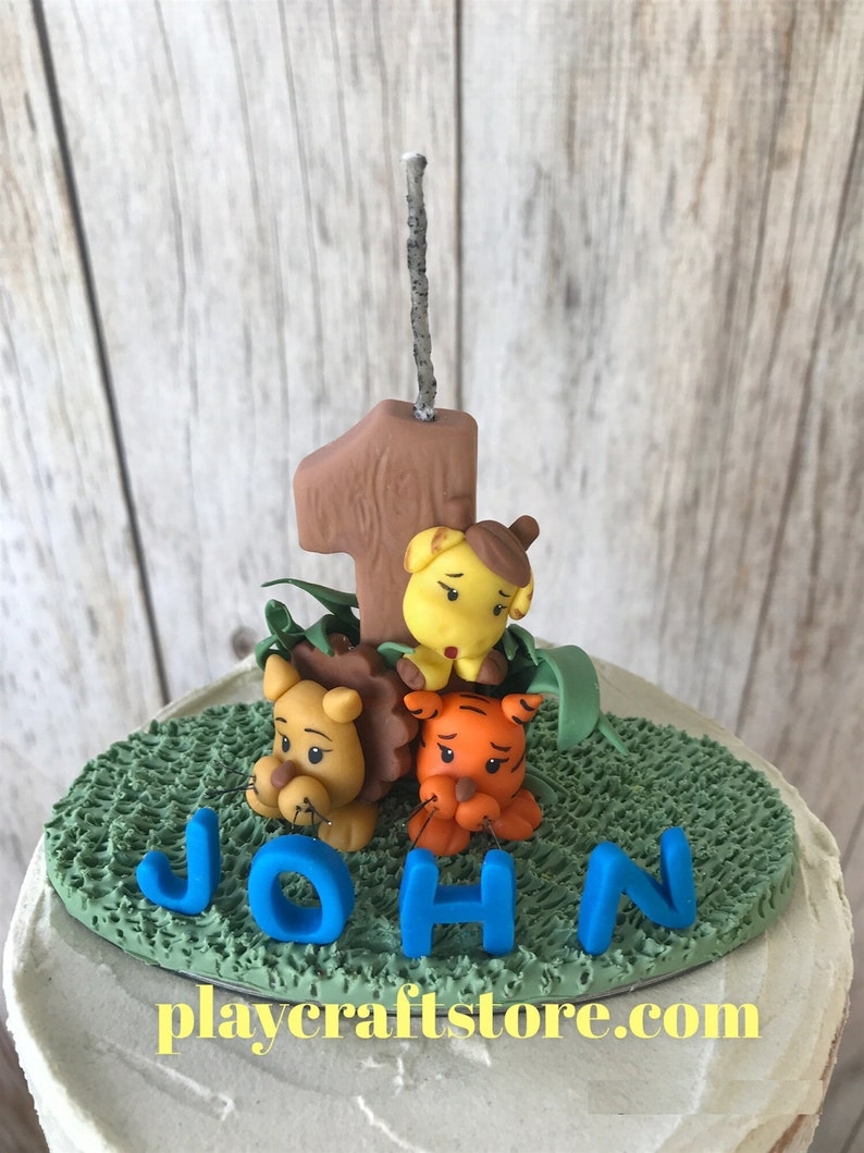 Animal Birthday Candle Name and Number Candle Zoo Candle image 1