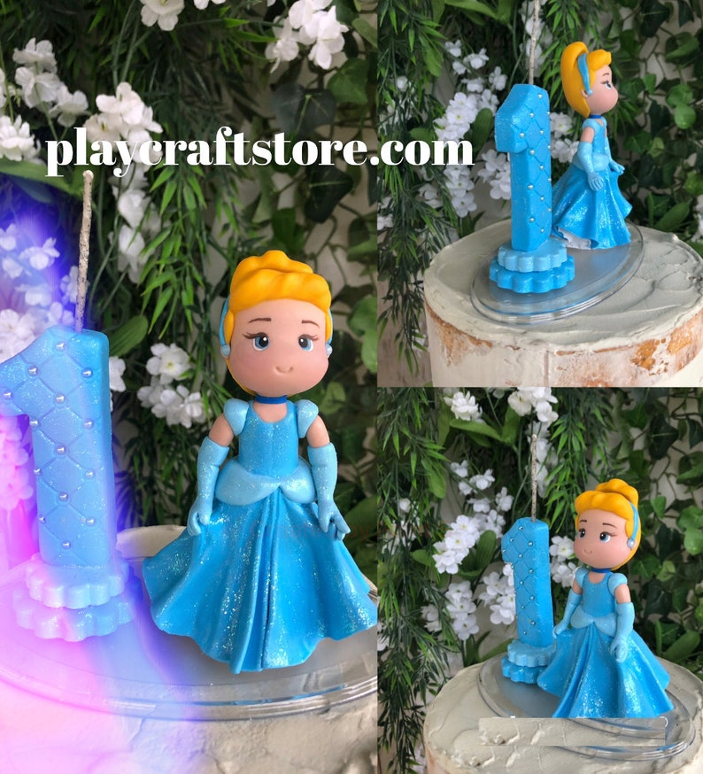 Princess Birthday Candle Number and Figurine Candle Disney image 1