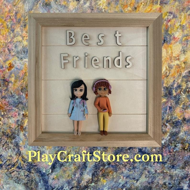 Best Friends 3D Portrait Home Decorations Wall Hanging Art image 1