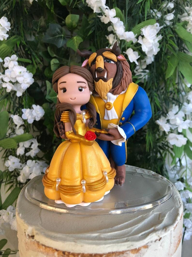 Beauty And The Beast Wedding Cake.Beauty And The Beast Hand Crafted Wedding Cake Topper