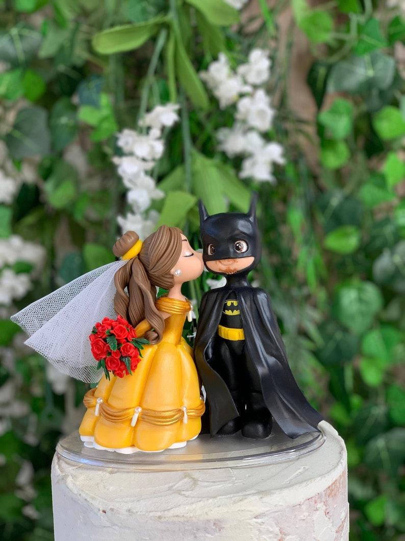 Batman and Belle Wedding Cake Topper Wedding Figurine  image 1