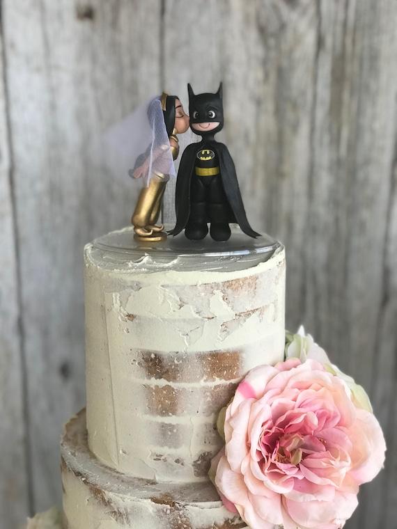 Batman Wedding Cake.Custom Handcrafted Wedding Cake Topper