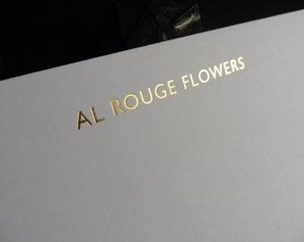 Letterpress foil business cards letterpress foil blocked note cards gold silver copper reheart Image collections