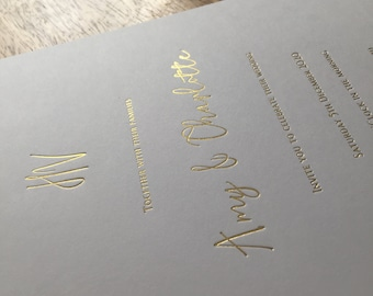 A5 letterpress foil printed cards / 500gsm white thick card / gold, silver, copper, black / invitation cards, promo cards, events, etc.