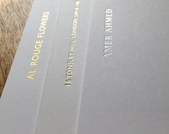 A6 letterpress foil printed cards / 500gsm white thick card / gold, silver, copper, black / invitation cards, promo cards, events, etc.