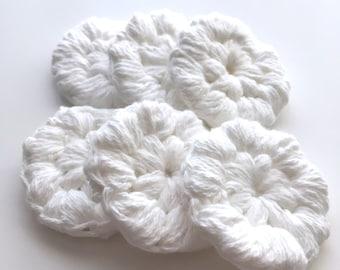 Reusable Cotton Face Scrubbies- 6 Round Crochet Handmade 100% Cotton Yarn- FREE SHIPPING