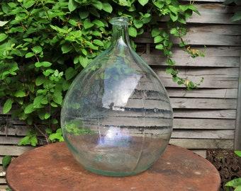 Antique Dame Jeanne or demi John / Clear glass big round bottle / Antique Cellar / Antique wine bottle / Garden decor / Farmhouse / vase