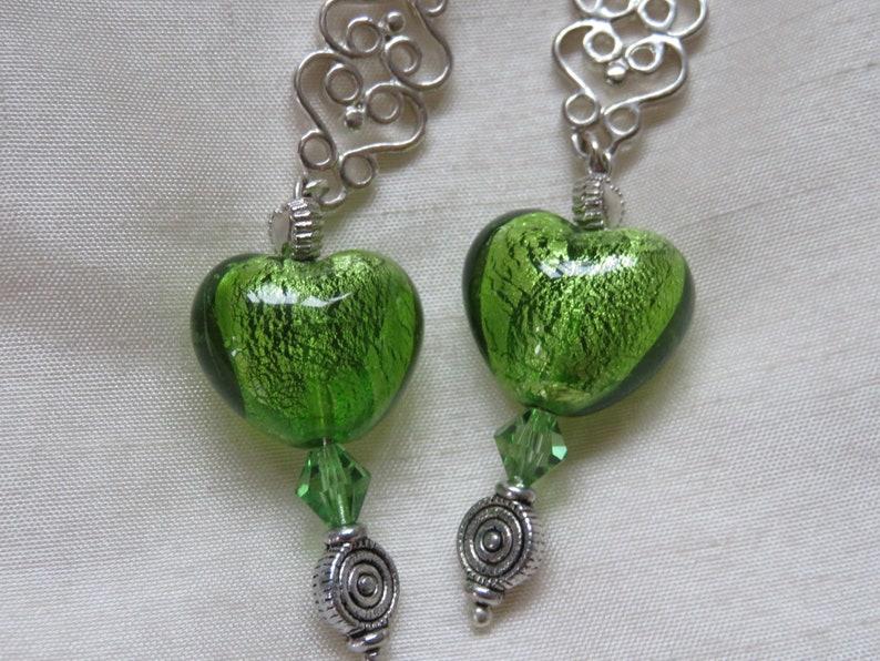 Handmade long vintage green foil heart glass bead earrings