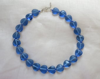 Vintage handmade blue heart glass bead necklace, hand knotted