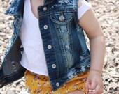 Baby toddler girl boy hand - distressed denim vest jacket , cool kids , hipster kids wear , custom denim , jean vest , children