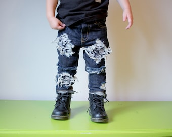 JUST JACK - baby , toddler , kids - Unisex skinnies with Jack Skellington Patches (Sizes 6m-12y) boys girls skinny jeans , patched denim