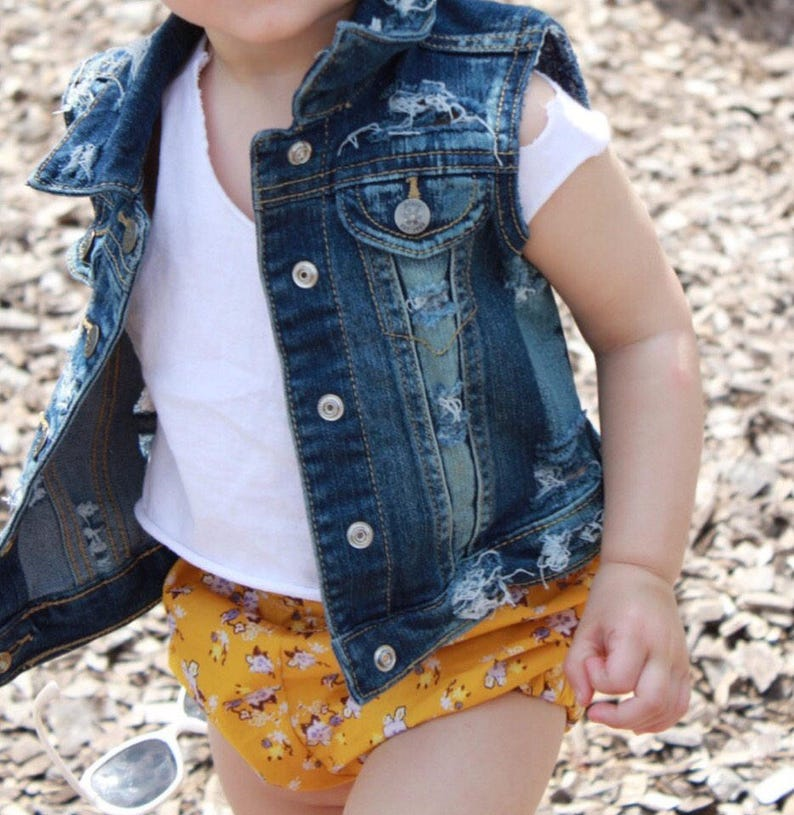 Baby / toddler girl / boy hand  distressed denim vest / image 0