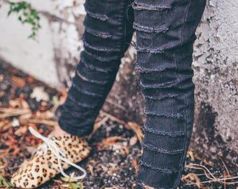Natasha jeggings - hand-distressed , baby / toddler / girl's black jeggings , custom denim , sizes 6m - 5t