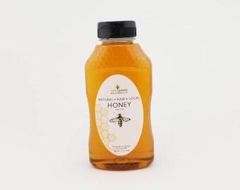 Raw Wildflower Honey, 1lb - Raw Honey in Squeezable Jar, BPA-Free plastic, Farm To Table, Natural Honey, Pure Honey, Honey Bee, Fall Harvest