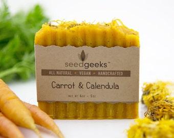 Carrot & Calendula Soap - Handmade Soap, Natural Soap, Homemade Soap, Vegan Soap, Cold Process Soap, Made with Real Organic Carrot Puree