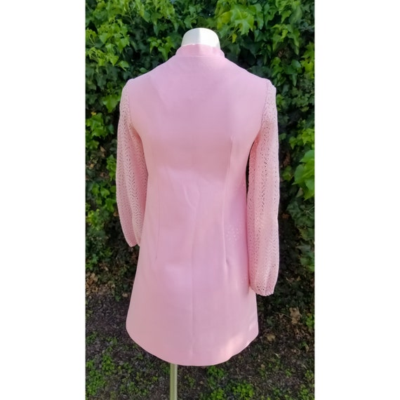 1960s Mod Polyester Blush Pink Mini Dress - image 5