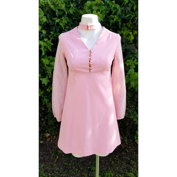 1960s Mod Polyester Blush Pink Mini Dress - image 2