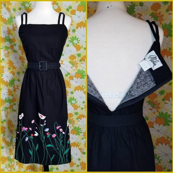 1970s Malia Floral Dress | Black Dress | Malia | S