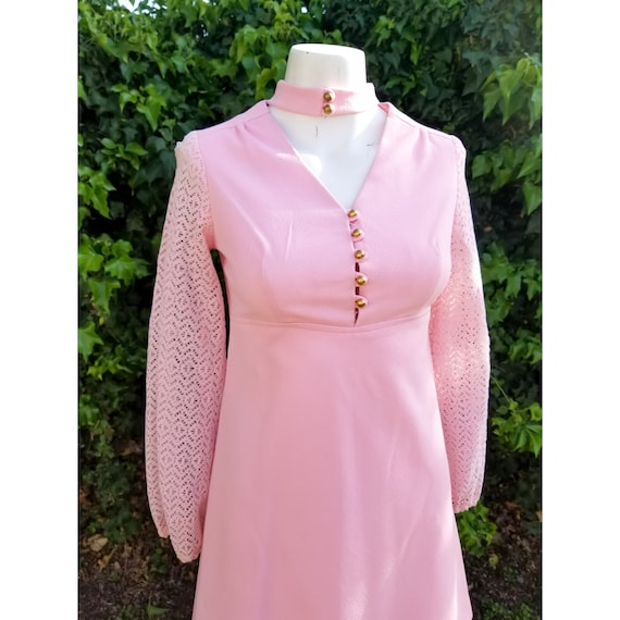 1960s Mod Polyester Blush Pink Mini Dress - image 3