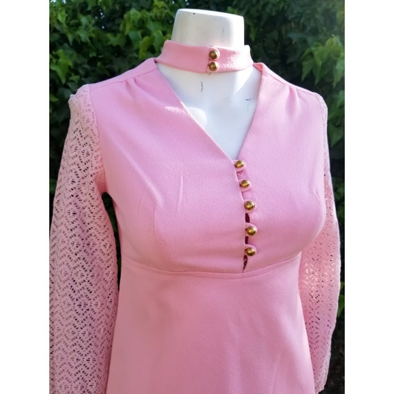 1960s Mod Polyester Blush Pink Mini Dress - image 4