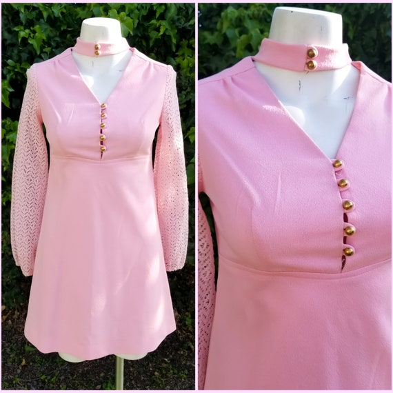 1960s Mod Polyester Blush Pink Mini Dress - image 1