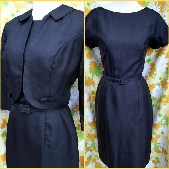 1960s Black Dress Set | Dress and Jacket Set