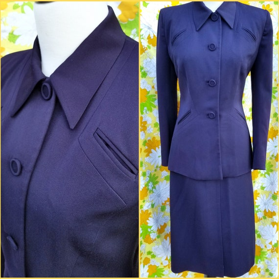 1950s Navy Blue Suit from Saks Fifth Avenue Debuta