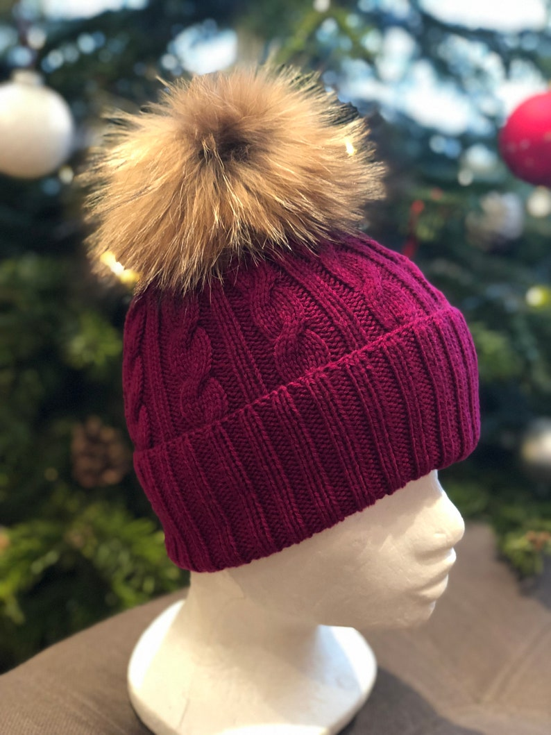 4087d7f72 SALE! Maroon Cable Knit Handmade 100% Cashmere Hat with Large Raccoon Fur  Pom Pom