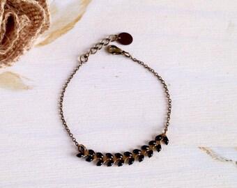 Minimalist, thin chain brass spike - jewelry bracelet black, ethnic, Bohemian, hippie - Christmas gift idea - Fine jewelry