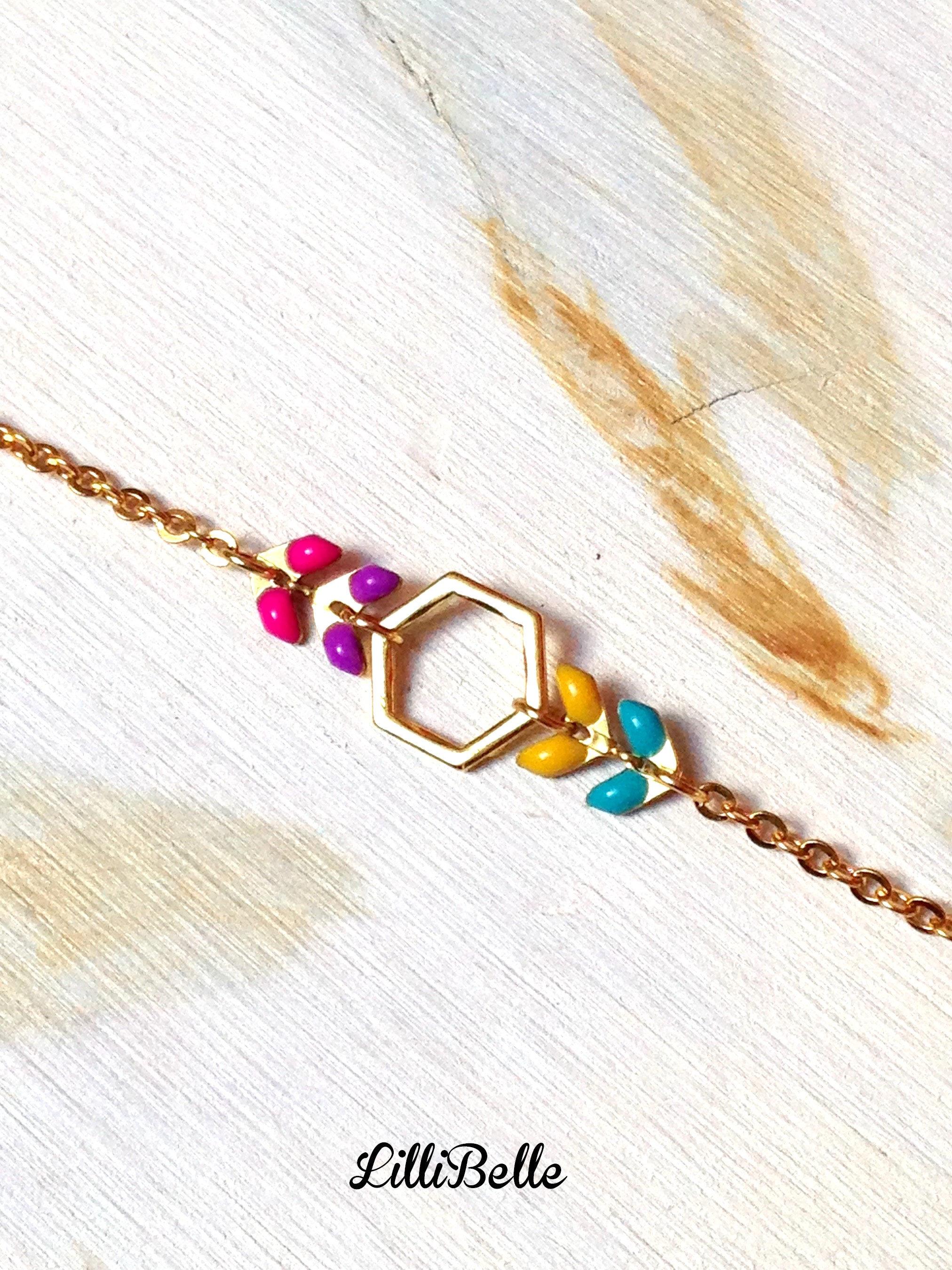 4267559ddfd327 Fine bracelet, gold plated and enamel: hexagon and chain ear-gold, geometric,  minimalist, handmade jewelry