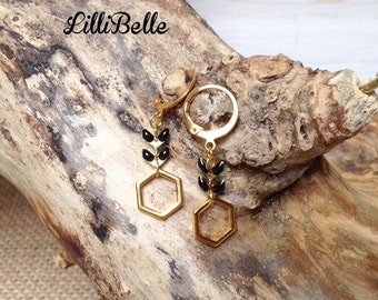Loops of golden ears, Hexagon and epi - jewelry gold, geometric, minimalistic string, handmade