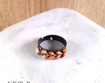 Ring adjustable mulitoucleurs winter: pink beige Brown - jewelry, Christmas gift idea